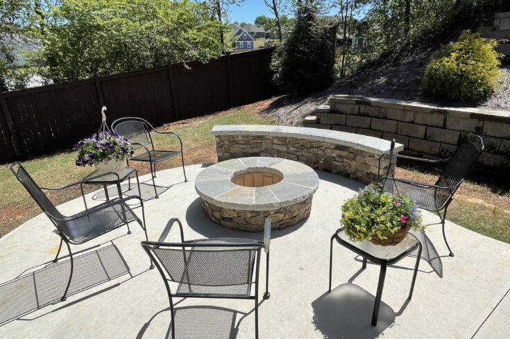 Concrete Patio and Beautiful Stone Firepit, Greenville SC