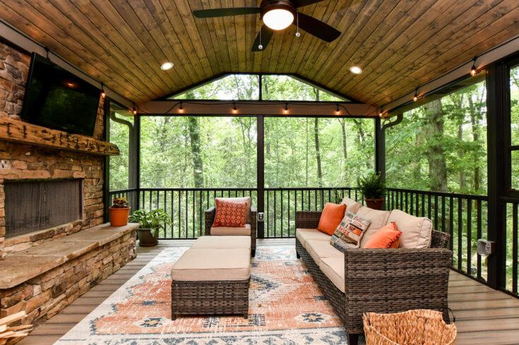 Custom Screen Porch with Custom Arrowhead Fireplace, Greer SC
