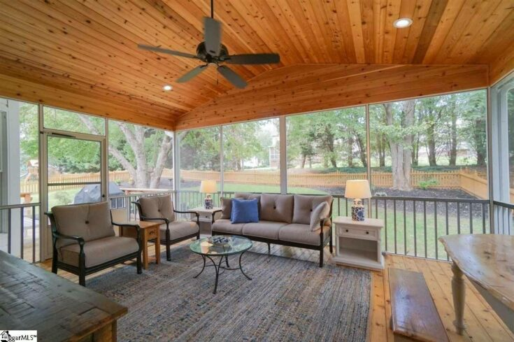 Custom Wood Deck and Screen Porch with Firepit and Concrete Patio, Simpsonville SC