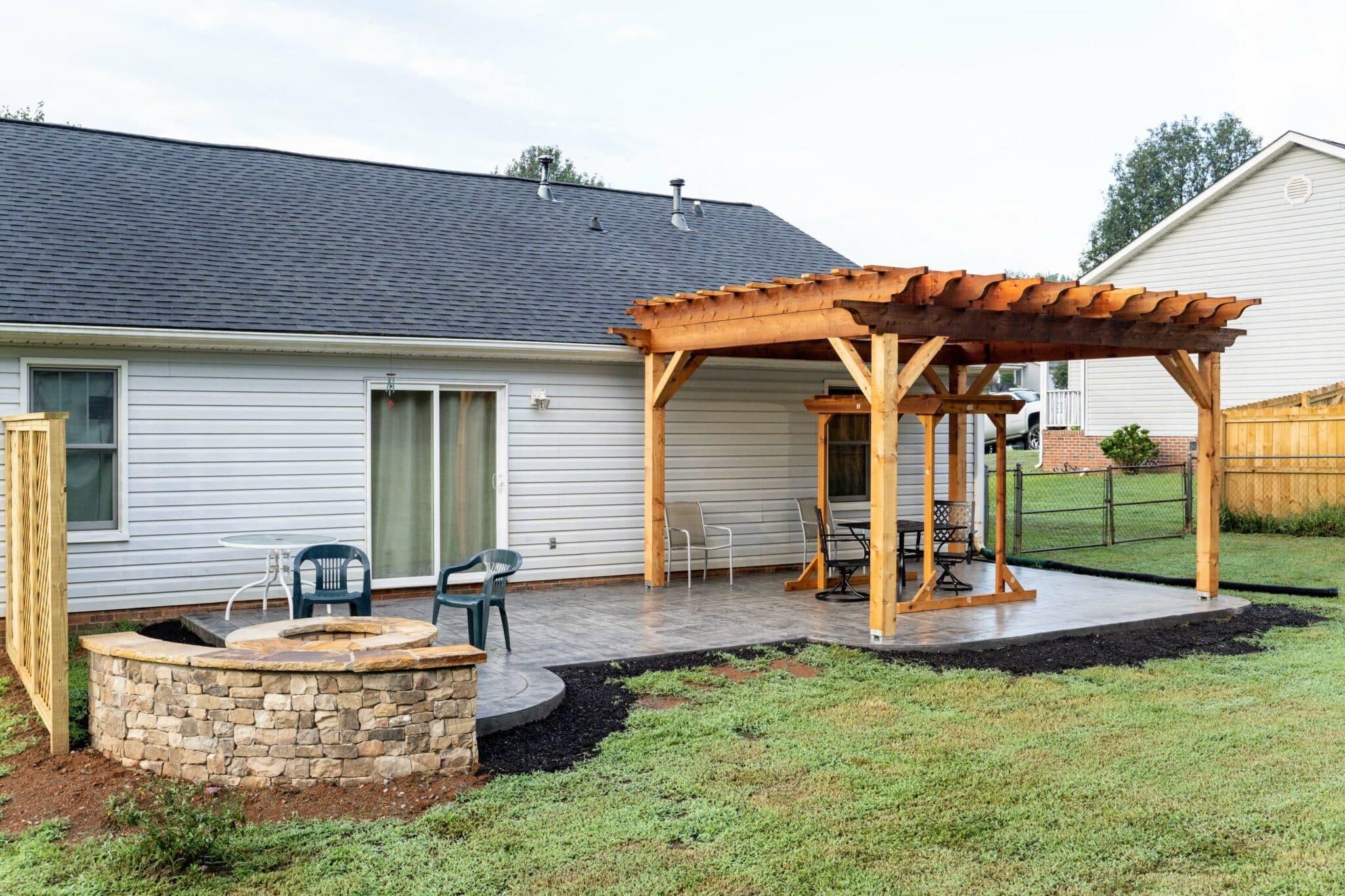 Concrete Patio with Beautiful Cedar Pergola in Taylors, SC